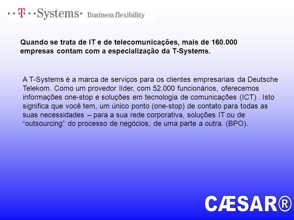 Quando se trata de IT e de telecomunicações, mais de 160.000 empresas contam com a especialização da T-Systems. A T-Systems é a marca de serviços para