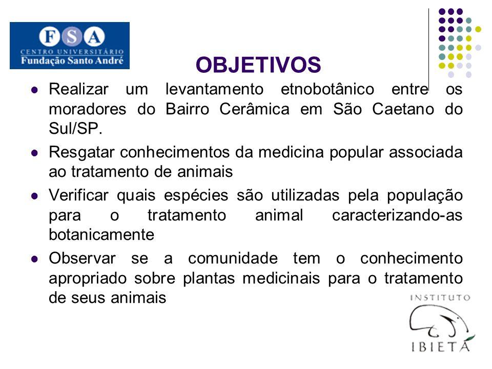 OBJETIVOS Realizar um levantamento etnobotânico entre os moradores do Bairro Cerâmica em São Caetano do Sul/SP. Resgatar conhecimentos da medicina pop