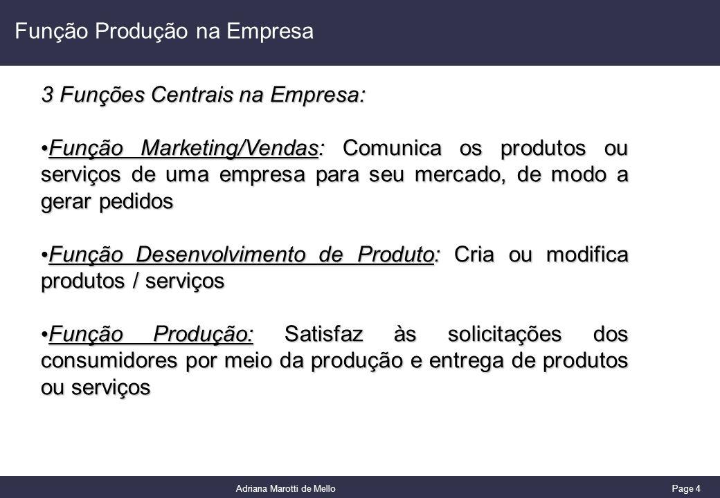 Page 4 Adriana Marotti de Mello Função Produção na Empresa 3 Funções Centrais na Empresa: Função Marketing/Vendas: Comunica os produtos ou serviços de