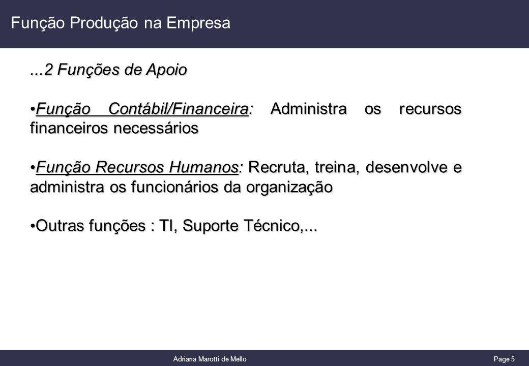 Page 5 Adriana Marotti de Mello Função Produção na Empresa...2 Funções de Apoio Função Contábil/Financeira: Administra os recursos financeiros necessá