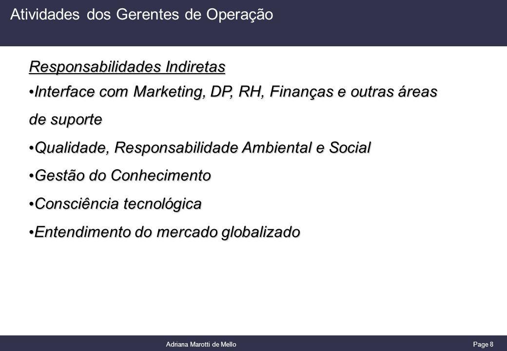 Page 8 Adriana Marotti de Mello Atividades dos Gerentes de Operação Responsabilidades Indiretas Interface com Marketing, DP, RH, Finanças e outras áre