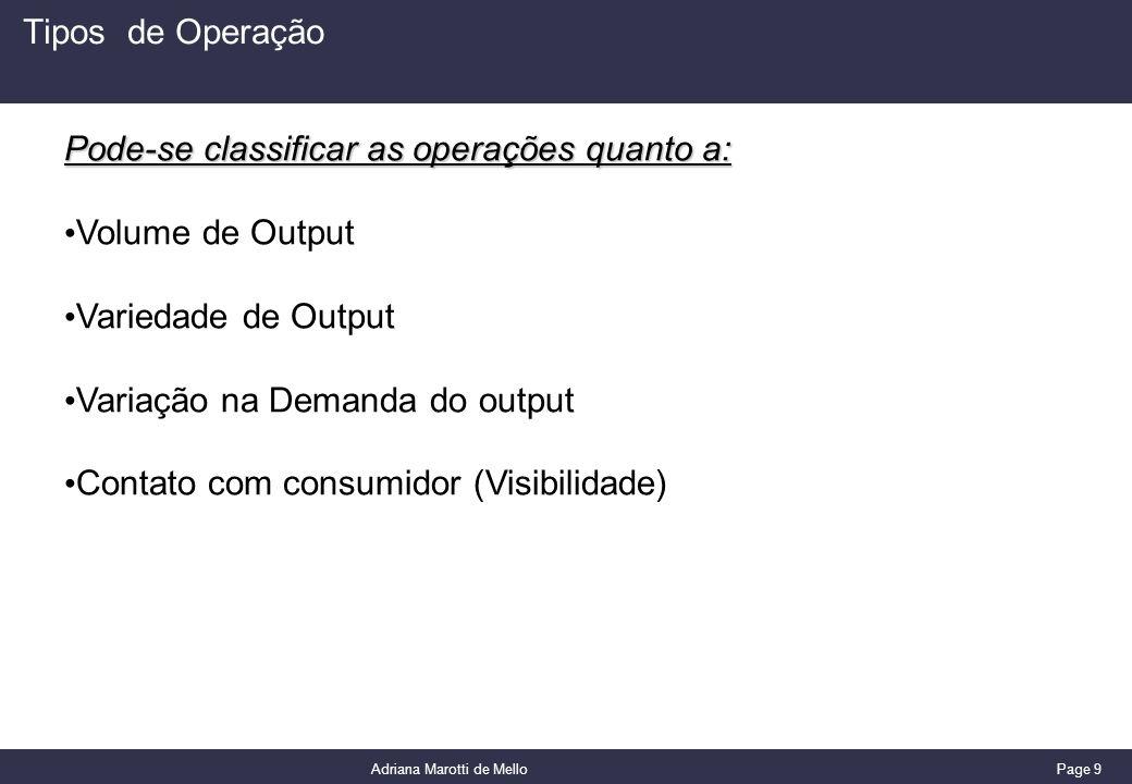Page 9 Adriana Marotti de Mello Tipos de Operação Pode-se classificar as operações quanto a: Volume de Output Variedade de Output Variação na Demanda