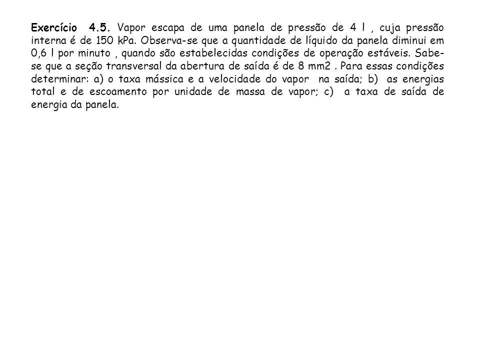 Exercício 4.5. Vapor escapa de uma panela de pressão de 4 l, cuja pressão interna é de 150 kPa. Observa-se que a quantidade de líquido da panela dimin