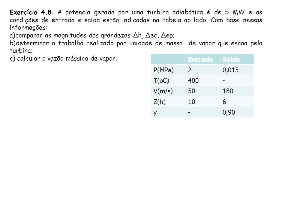 Exercício 4.8. A potencia gerada por uma turbina adiabática é de 5 MW e as condições de entrada e saída estão indicadas na tabela ao lado. Com base ne