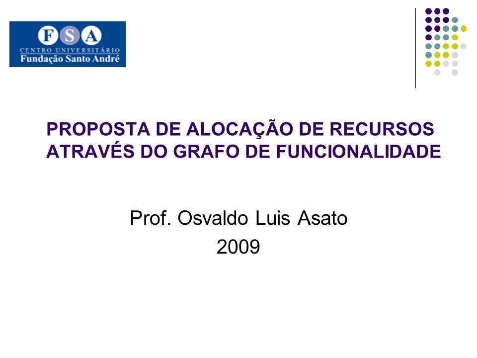PROPOSTA DE ALOCAÇÃO DE RECURSOS ATRAVÉS DO GRAFO DE FUNCIONALIDADE Prof. Osvaldo Luis Asato 2009