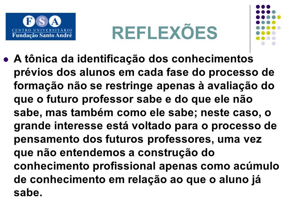 REFLEXÕES A tônica da identificação dos conhecimentos prévios dos alunos em cada fase do processo de formação não se restringe apenas à avaliação do q
