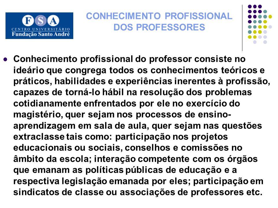CONHECIMENTO PROFISSIONAL DOS PROFESSORES Conhecimento profissional do professor consiste no ideário que congrega todos os conhecimentos teóricos e pr