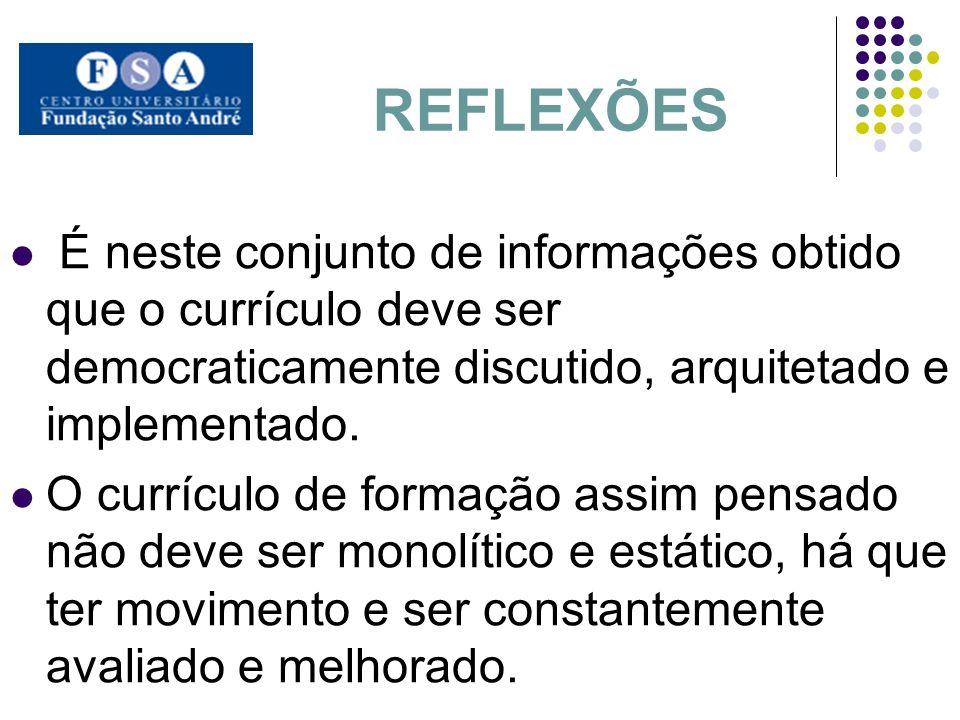 REFLEXÕES É neste conjunto de informações obtido que o currículo deve ser democraticamente discutido, arquitetado e implementado. O currículo de forma