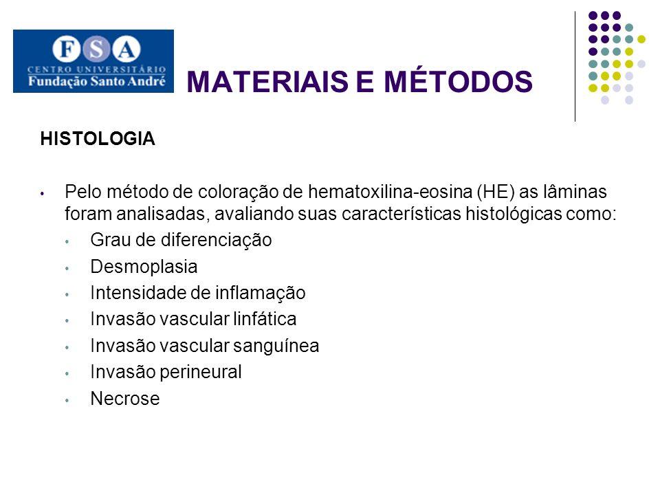 MATERIAIS E MÉTODOS HISTOLOGIA Pelo método de coloração de hematoxilina-eosina (HE) as lâminas foram analisadas, avaliando suas características histol