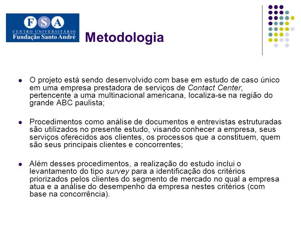 Metodologia O projeto está sendo desenvolvido com base em estudo de caso único em uma empresa prestadora de serviços de Contact Center, pertencente a