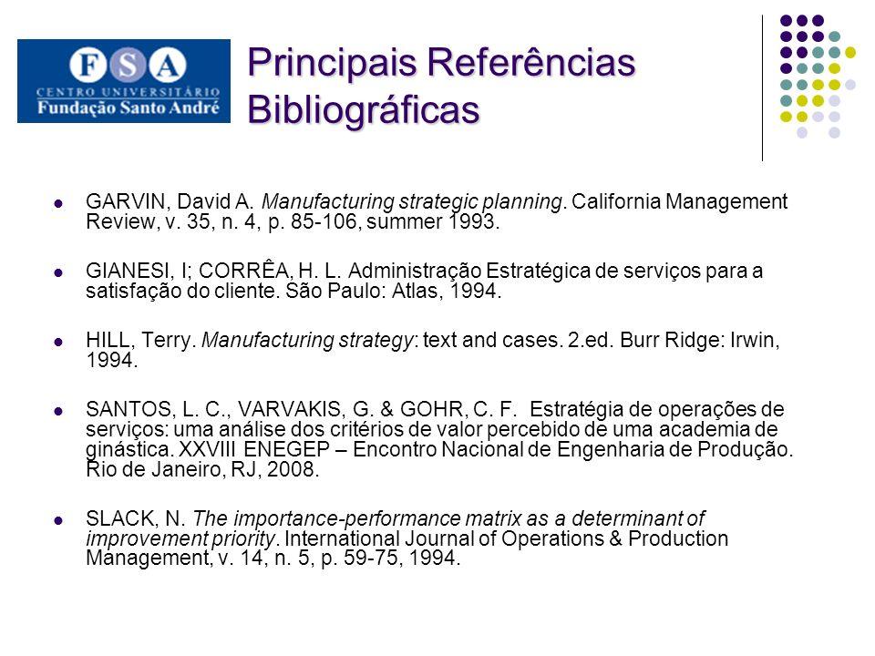 Principais Referências Bibliográficas GARVIN, David A. Manufacturing strategic planning. California Management Review, v. 35, n. 4, p. 85-106, summer