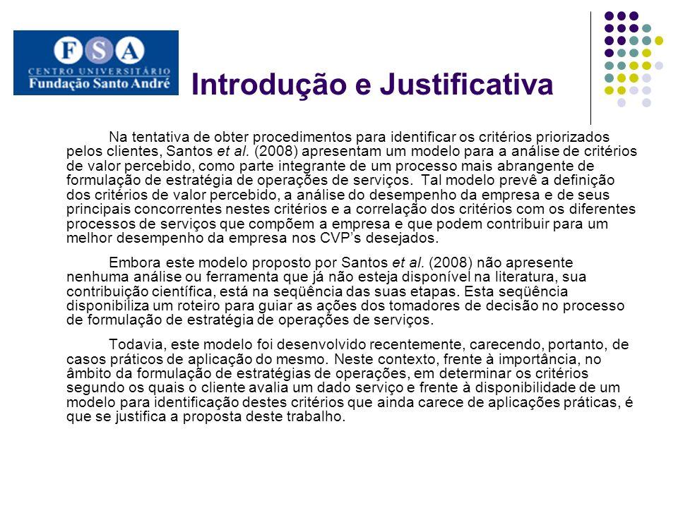 Objetivo Geral O objetivo geral deste trabalho é aplicar, em um caso prático, o modelo proposto por Santos et al.
