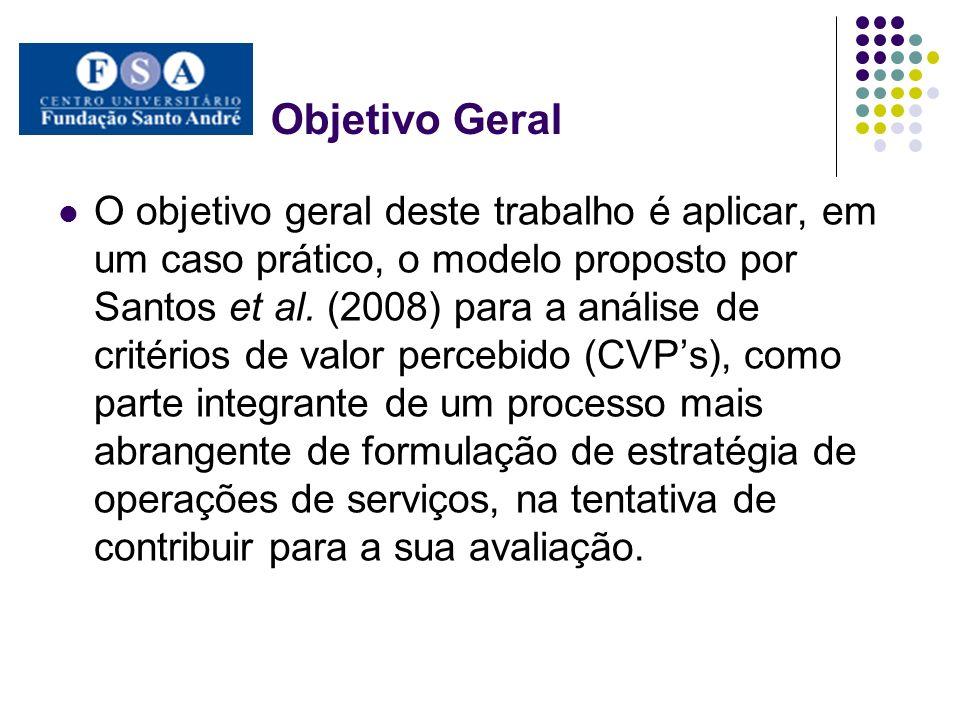 Objetivo Geral O objetivo geral deste trabalho é aplicar, em um caso prático, o modelo proposto por Santos et al. (2008) para a análise de critérios d
