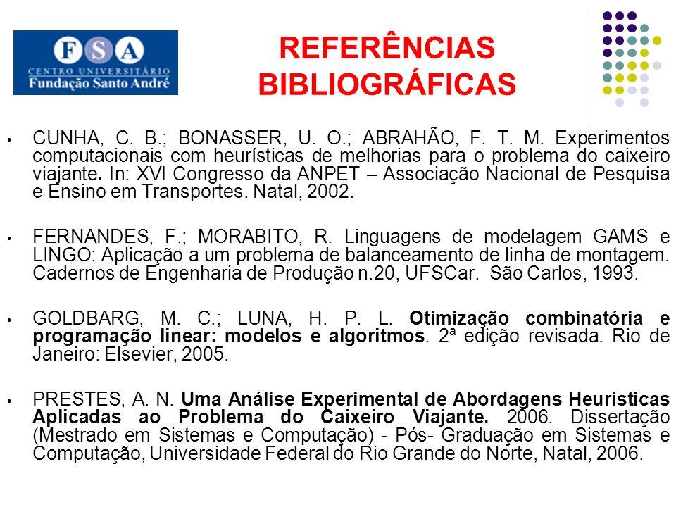REFERÊNCIAS BIBLIOGRÁFICAS CUNHA, C. B.; BONASSER, U. O.; ABRAHÃO, F. T. M. Experimentos computacionais com heurísticas de melhorias para o problema d