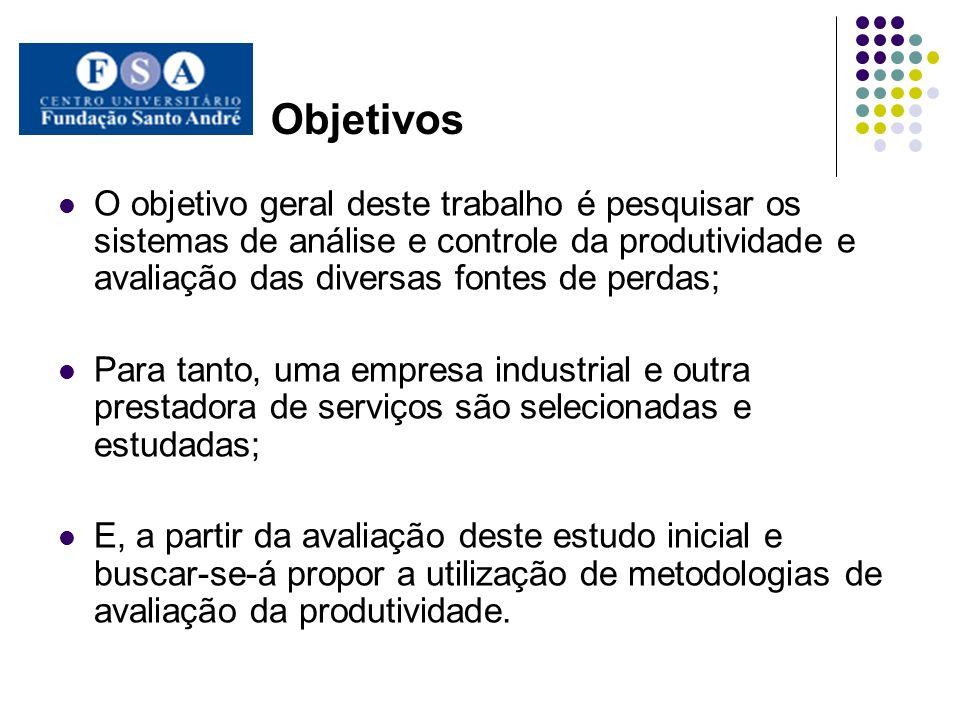 Objetivos O objetivo geral deste trabalho é pesquisar os sistemas de análise e controle da produtividade e avaliação das diversas fontes de perdas; Pa