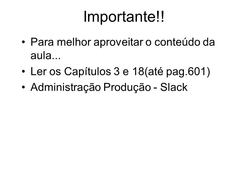 Importante!! Para melhor aproveitar o conteúdo da aula... Ler os Capítulos 3 e 18(até pag.601) Administração Produção - Slack