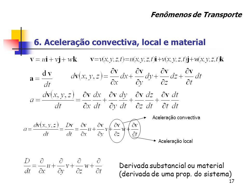 17 6. Aceleração convectiva, local e material Derivada substancial ou material (derivada de uma prop. do sistema) Aceleração convectiva Aceleração loc