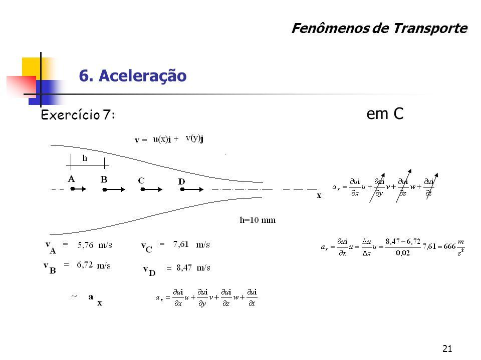 21 em C Fenômenos de Transporte 6. Aceleração Exercício 7: