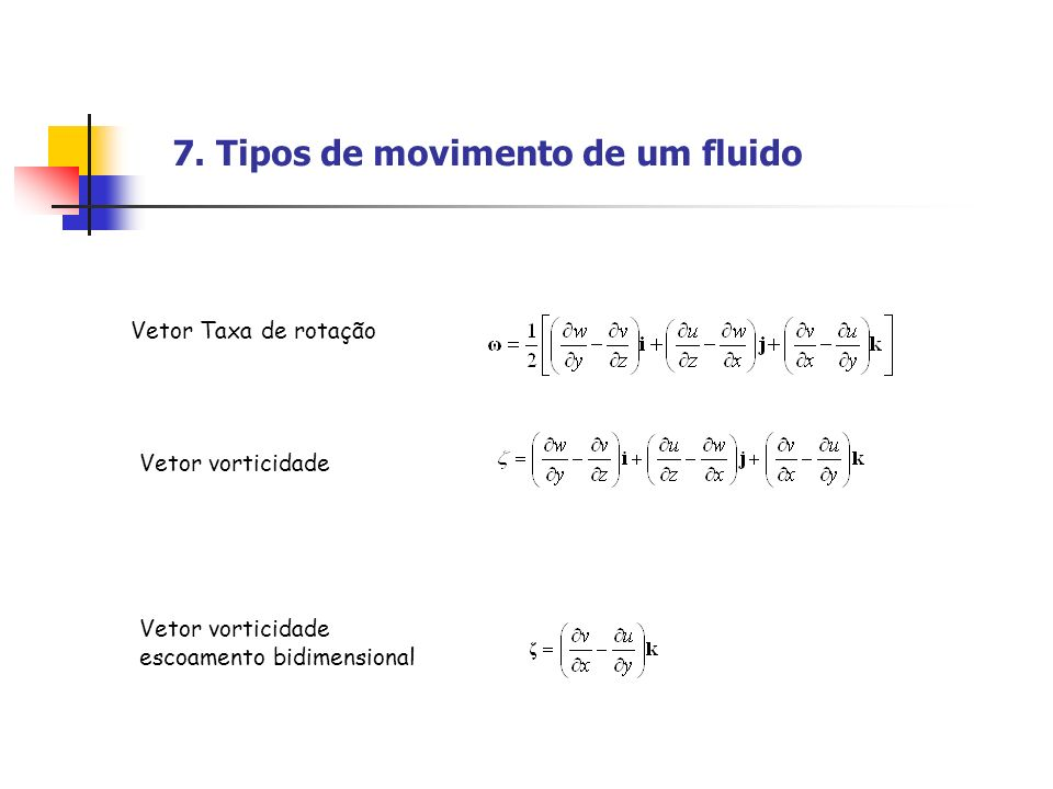 7. Tipos de movimento de um fluido Vetor Taxa de rotação Vetor vorticidade Vetor vorticidade escoamento bidimensional
