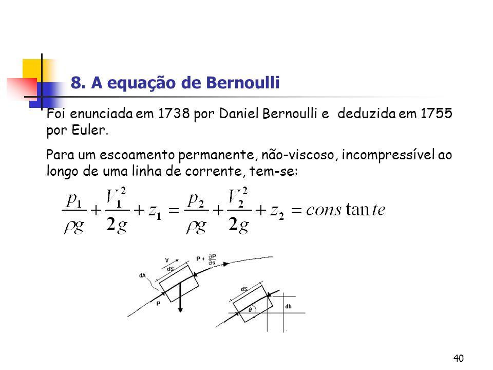 40 Foi enunciada em 1738 por Daniel Bernoulli e deduzida em 1755 por Euler. Para um escoamento permanente, não-viscoso, incompressível ao longo de uma