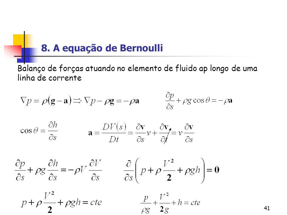 41 Balanço de forças atuando no elemento de fluido ap longo de uma linha de corrente 8. A equação de Bernoulli
