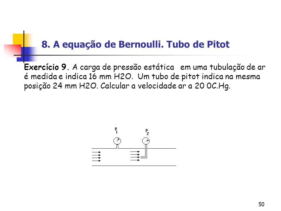 50 Exercício 9. A carga de pressão estática em uma tubulação de ar é medida e indica 16 mm H2O. Um tubo de pitot indica na mesma posição 24 mm H2O. Ca