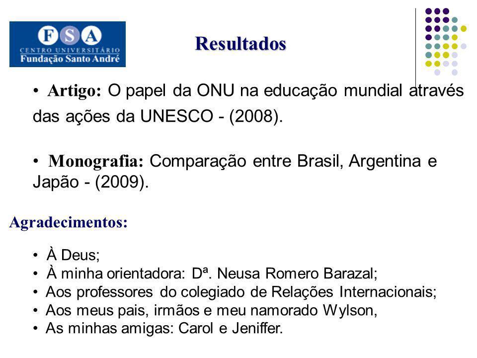 Resultados Artigo: O papel da ONU na educação mundial através das ações da UNESCO - (2008). Monografia: Comparação entre Brasil, Argentina e Japão - (