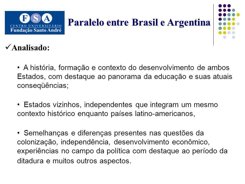 Paralelo entre Brasil e Argentina Paralelo entre Brasil e Argentina Analisado: A história, formação e contexto do desenvolvimento de ambos Estados, co