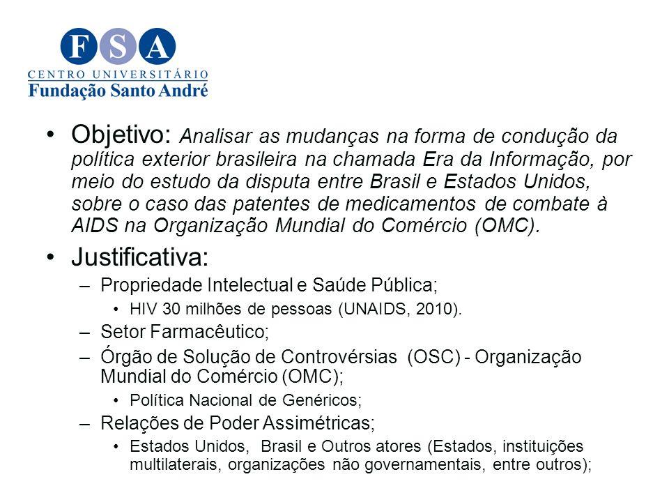 Objetivo: Analisar as mudanças na forma de condução da política exterior brasileira na chamada Era da Informação, por meio do estudo da disputa entre