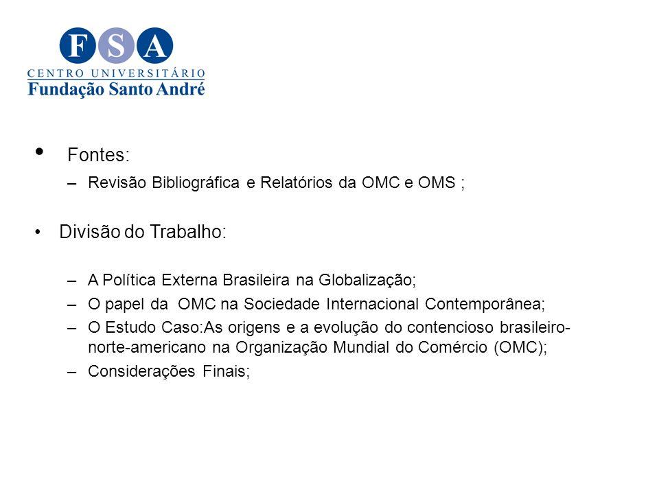 Fontes: –Revisão Bibliográfica e Relatórios da OMC e OMS ; Divisão do Trabalho: –A Política Externa Brasileira na Globalização; –O papel da OMC na Soc