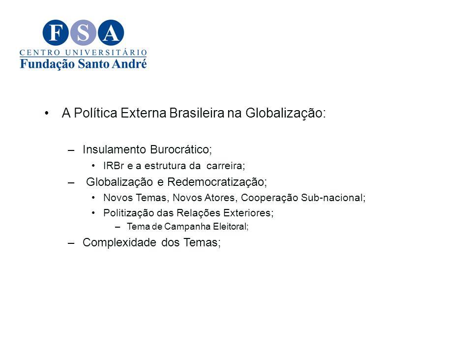 A Política Externa Brasileira na Globalização: –Insulamento Burocrático; IRBr e a estrutura da carreira; – Globalização e Redemocratização; Novos Tema