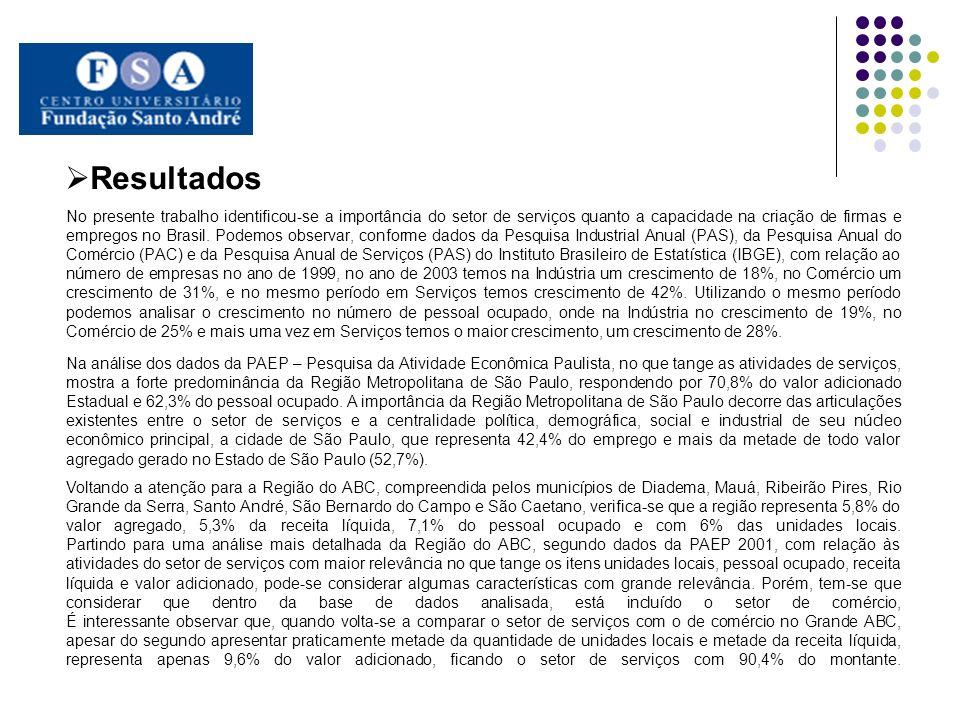 No presente trabalho identificou-se a importância do setor de serviços quanto a capacidade na criação de firmas e empregos no Brasil. Podemos observar