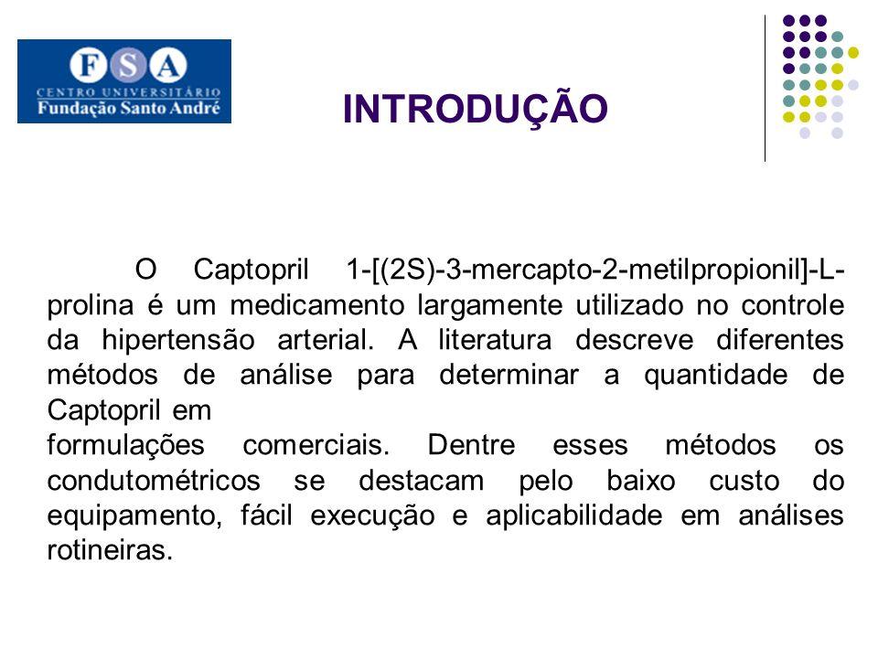 O Captopril 1-[(2S)-3-mercapto-2-metilpropionil]-L- prolina é um medicamento largamente utilizado no controle da hipertensão arterial. A literatura de