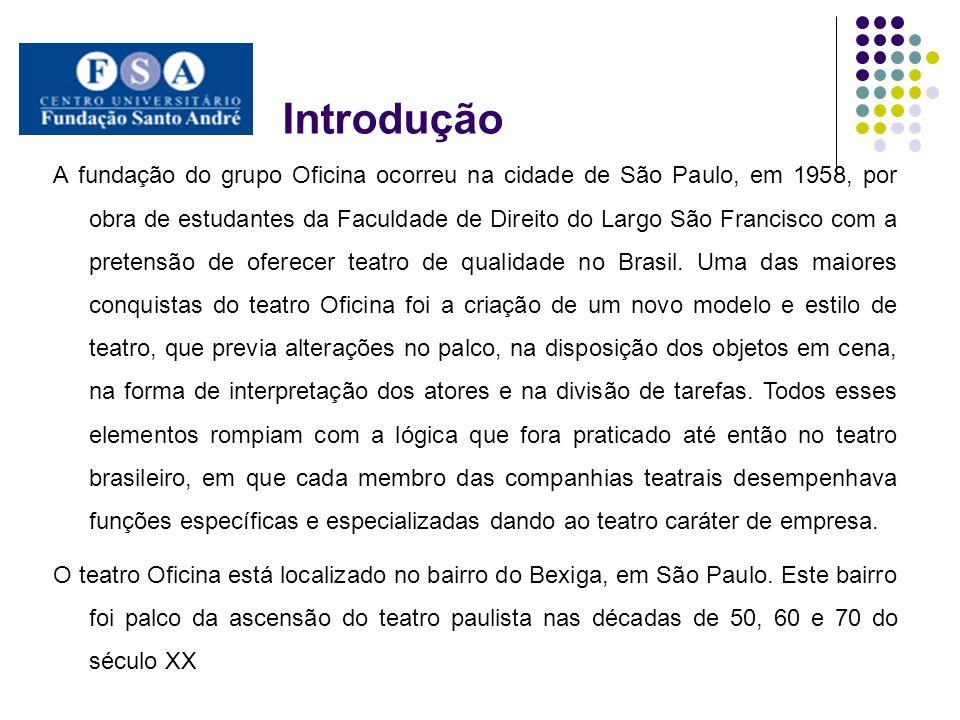 Objetivo O objetivo deste trabalho é discutir a trajetória do teatro Oficina, como um representante das alterações da prática teatral paulistana, buscando compreender a influência das transformações políticas e sociais, na rotina das manifestações teatrais das décadas de 60 e 70 do século XX.