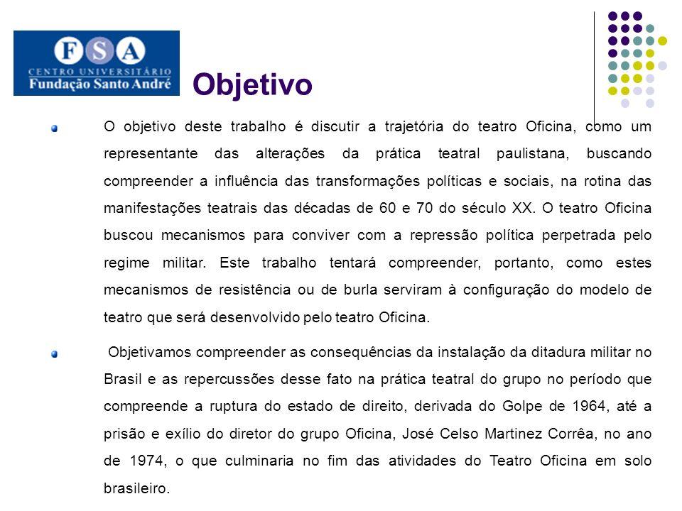 Discussão Compreender o regime ditatorial brasileiro da segunda metade do século XX partindo de um prisma cultural, tomando o teatro como objeto de análise da realidade política do Brasil.