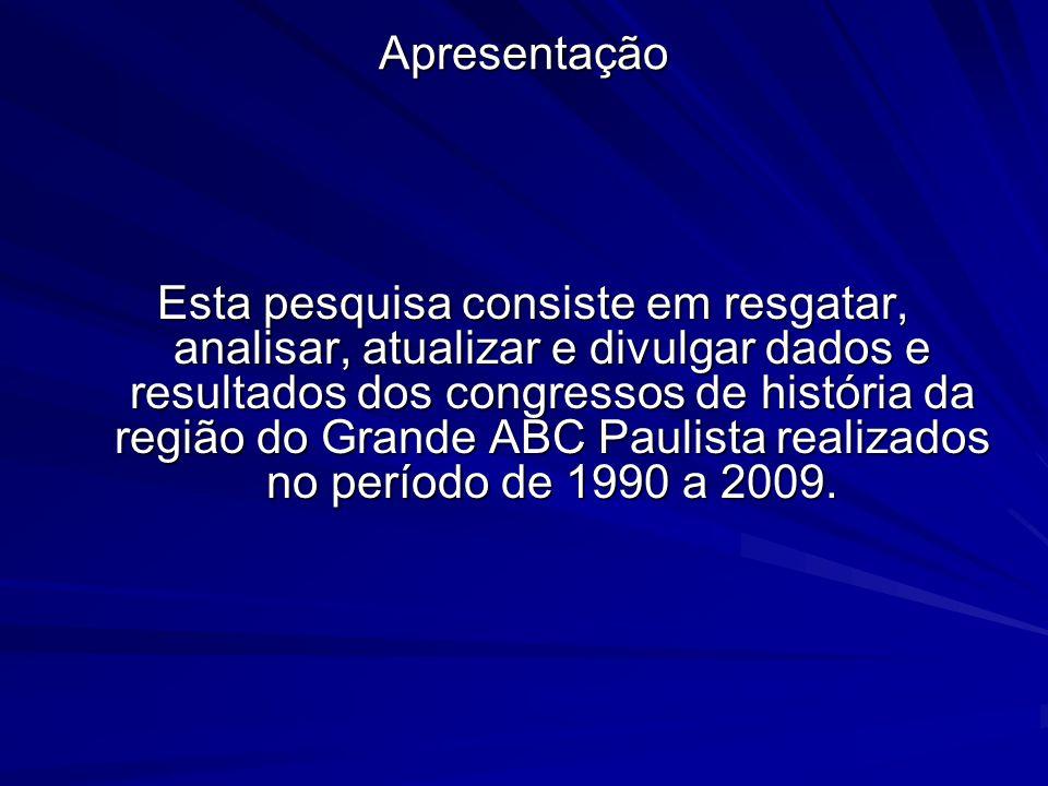 Apresentação Esta pesquisa consiste em resgatar, analisar, atualizar e divulgar dados e resultados dos congressos de história da região do Grande ABC Paulista realizados no período de 1990 a 2009.