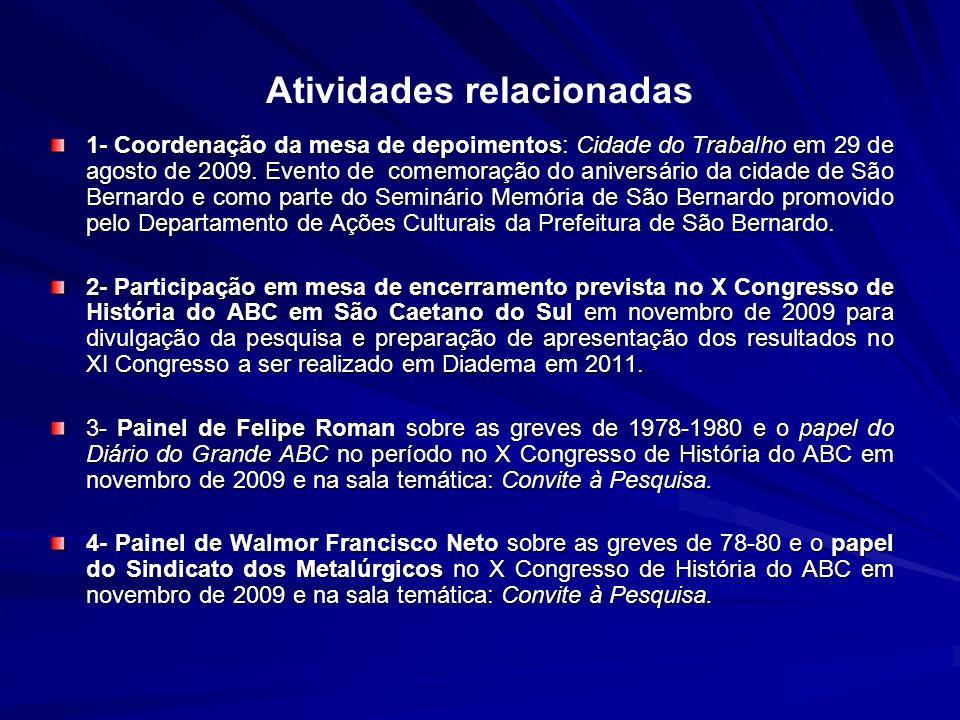 Atividades relacionadas 1- Coordenação da mesa de depoimentos: Cidade do Trabalho em 29 de agosto de 2009.