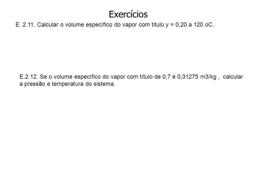 Exercícios E. 2.11. Calcular o volume específico do vapor com titulo y = 0,20 a 120 oC. E.2.12. Se o volume específico do vapor com título de 0,7 é 0,