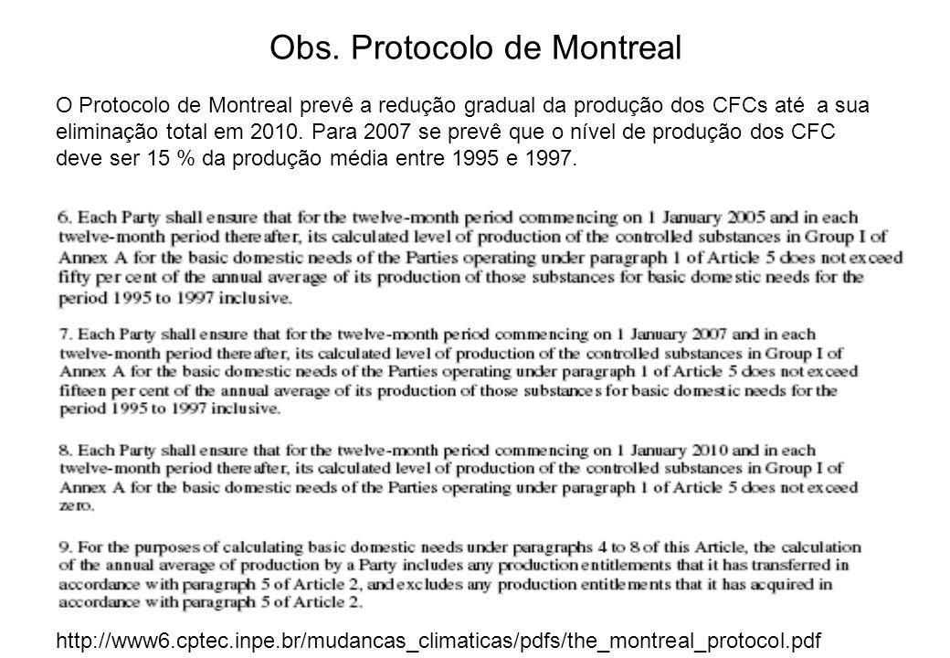 O Protocolo de Montreal prevê a redução gradual da produção dos CFCs até a sua eliminação total em 2010. Para 2007 se prevê que o nível de produção do