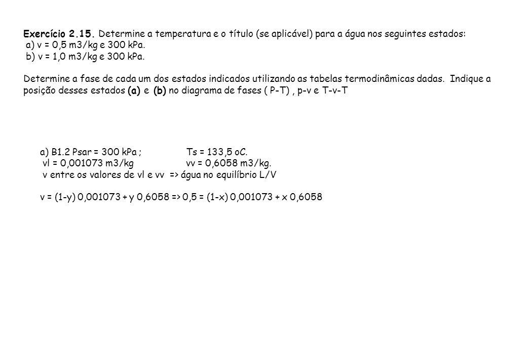 Exercício 2.15. Determine a temperatura e o título (se aplicável) para a água nos seguintes estados: a) v = 0,5 m3/kg e 300 kPa. b) v = 1,0 m3/kg e 30