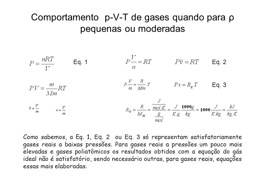 Comportamento p-V-T de gases quando para ρ pequenas ou moderadas Como sabemos, a Eq. 1, Eq. 2 ou Eq. 3 só representam satisfatoriamente gases reais a