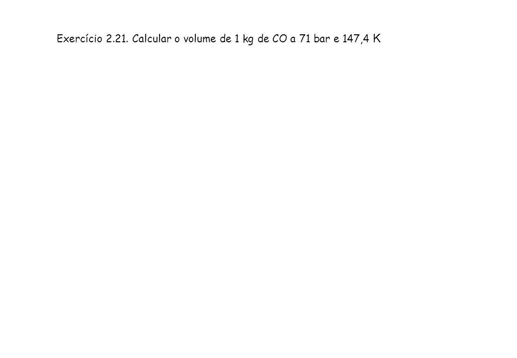 Exercício 2.21. Calcular o volume de 1 kg de CO a 71 bar e 147,4 K