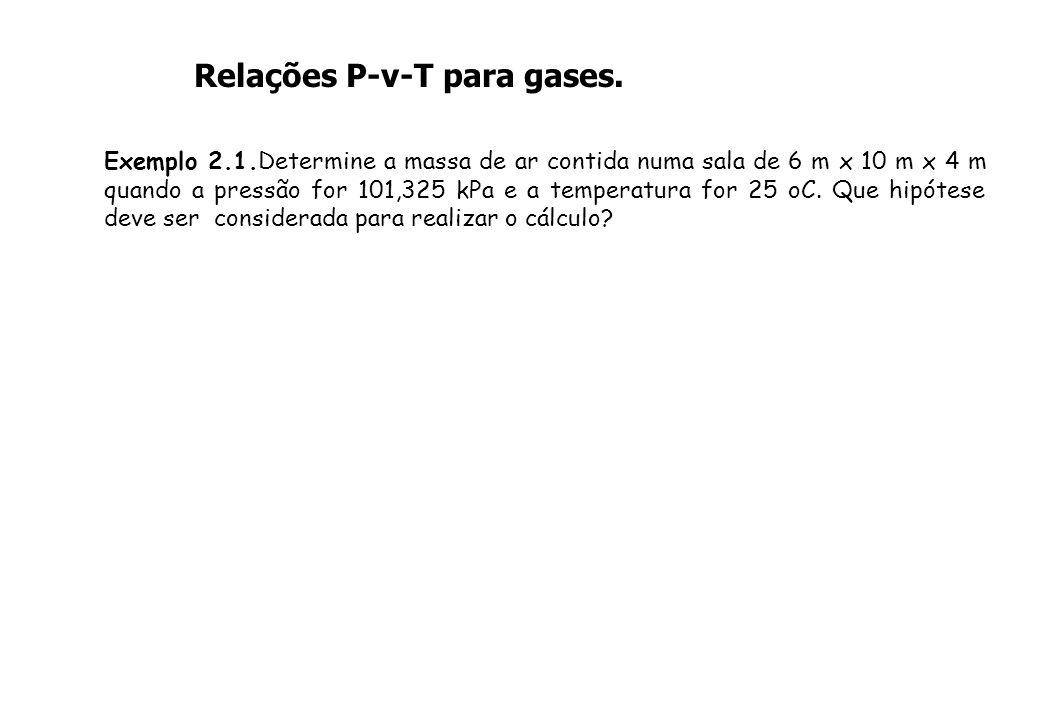 Relações P-v-T para gases. Exemplo 2.1.Determine a massa de ar contida numa sala de 6 m x 10 m x 4 m quando a pressão for 101,325 kPa e a temperatura