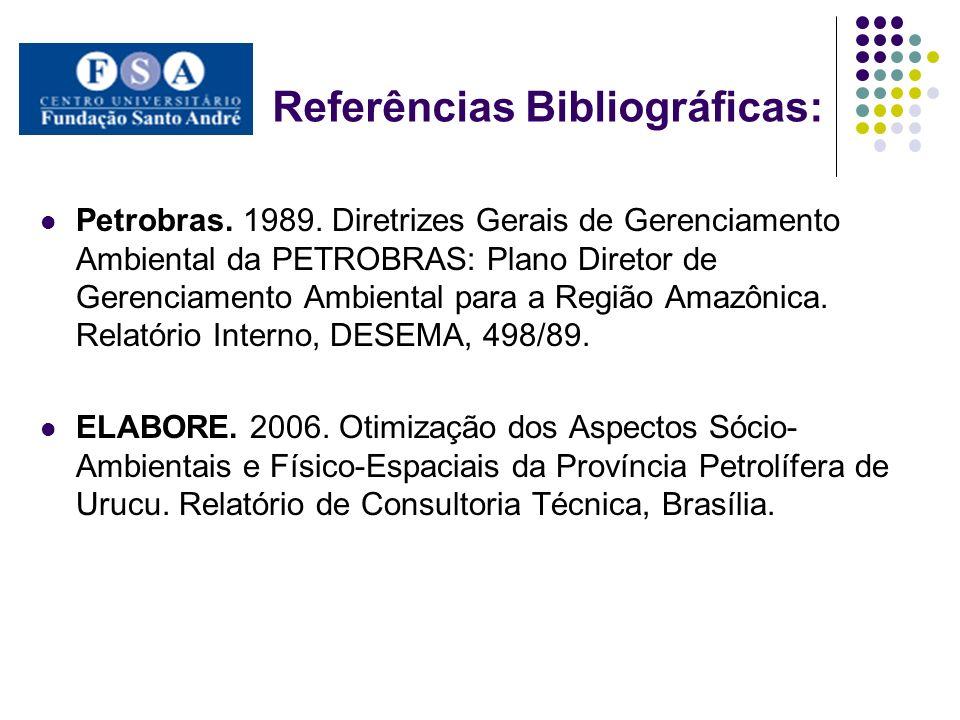 Referências Bibliográficas: Petrobras. 1989. Diretrizes Gerais de Gerenciamento Ambiental da PETROBRAS: Plano Diretor de Gerenciamento Ambiental para