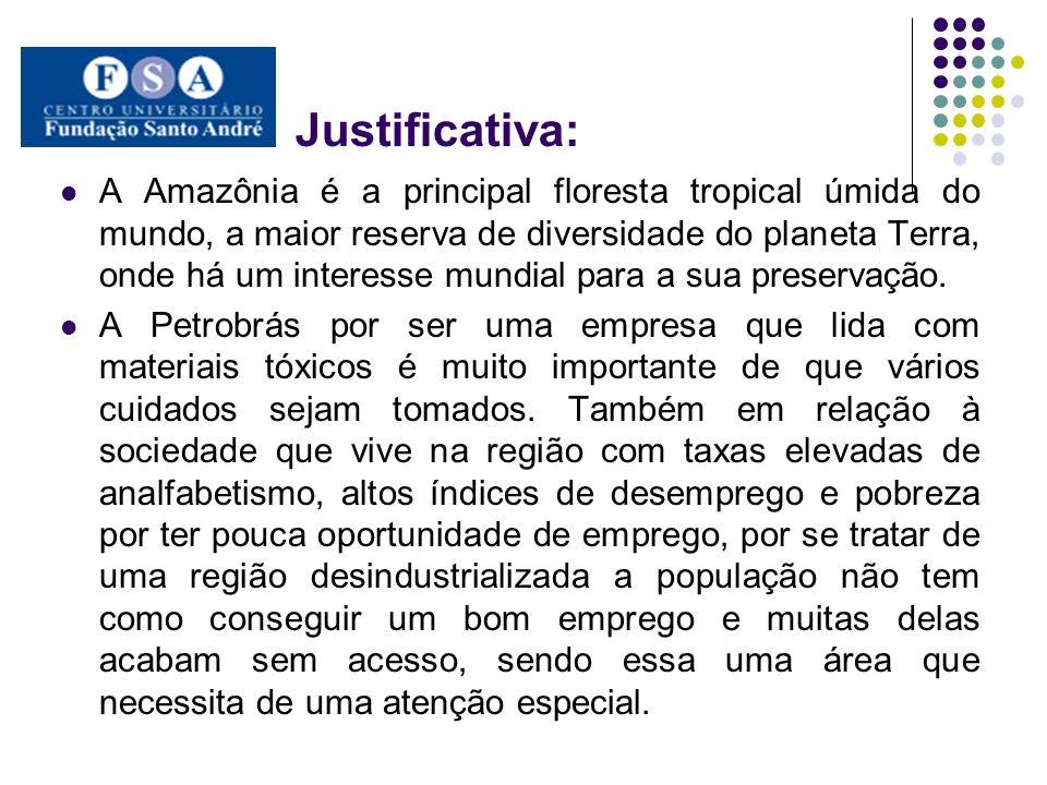 Justificativa: A Amazônia é a principal floresta tropical úmida do mundo, a maior reserva de diversidade do planeta Terra, onde há um interesse mundia