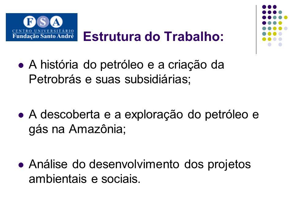 Estrutura do Trabalho: A história do petróleo e a criação da Petrobrás e suas subsidiárias; A descoberta e a exploração do petróleo e gás na Amazônia;