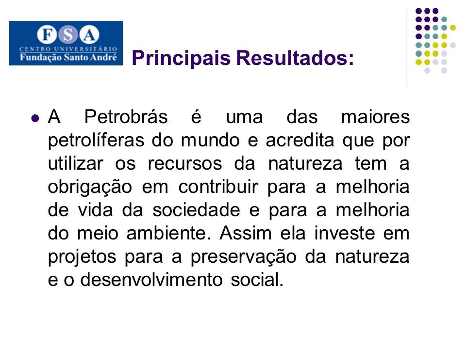 Principais Resultados: Projetos Ambientais: o Workshops com cientistas nacionais especialistas na Amazônia; o Projetos de reflorestamentos, para as áreas desmatadas para a implantação da petrolífera; o Criação do orquidário e de um viveiro para as espécies de plantas que são importantes para a região e que são retiradas da área para que essas possam proliferar e não se extinguir; o Criação do Parque de Resíduos para que possa ser feito todos os tratamentos necessários dos resíduos químicos.
