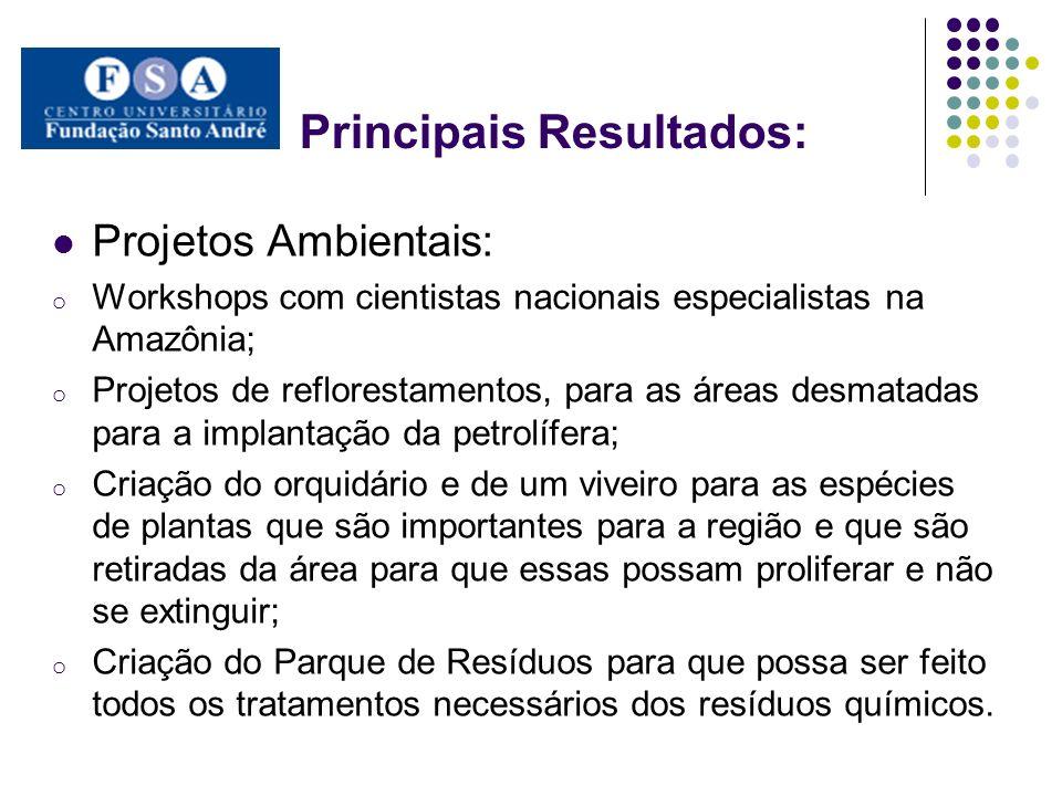 Principais Resultados: Projetos Ambientais: o Workshops com cientistas nacionais especialistas na Amazônia; o Projetos de reflorestamentos, para as ár