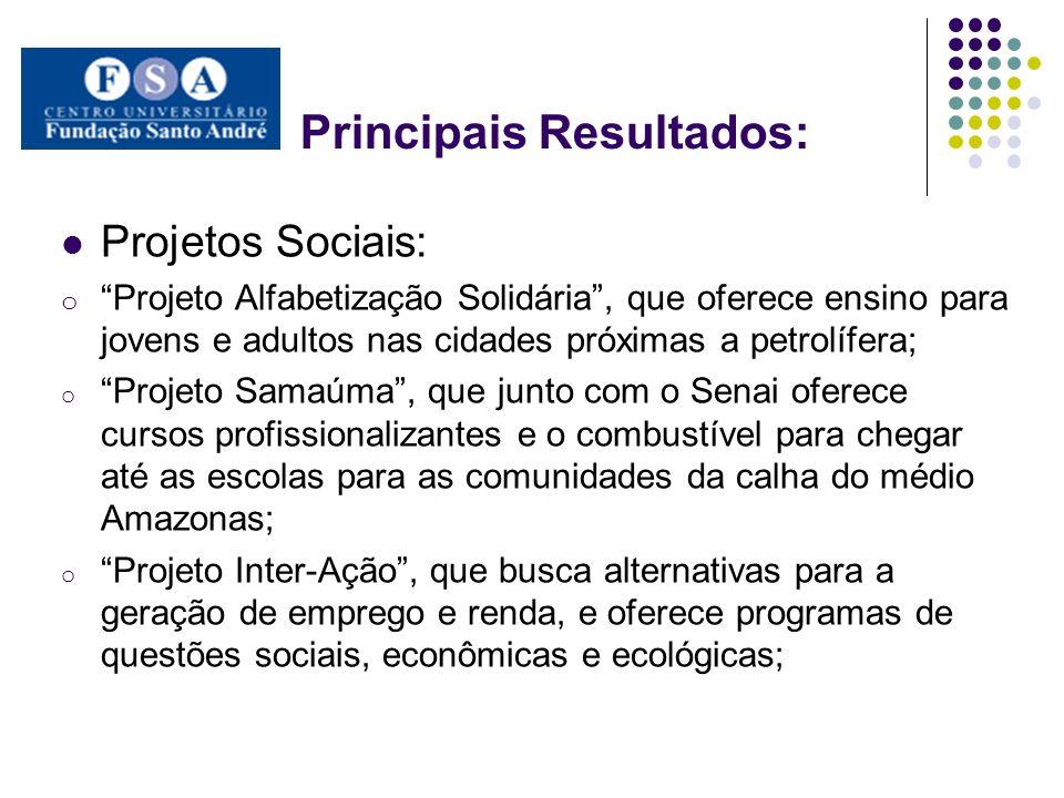 Principais Resultados: Projetos Sociais: o Projeto Alfabetização Solidária, que oferece ensino para jovens e adultos nas cidades próximas a petrolífer