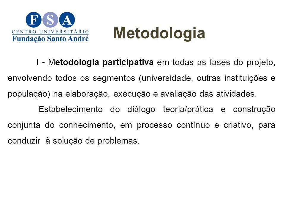 I - Metodologia participativa em todas as fases do projeto, envolvendo todos os segmentos (universidade, outras instituições e população) na elaboraçã